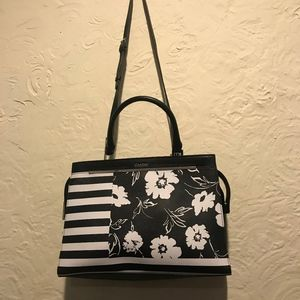 Calvin Klein Black and White Printed Leather Bag